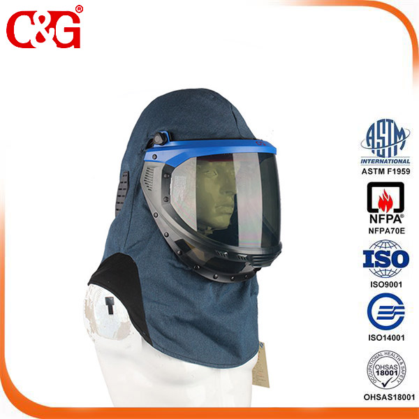 40 CAL Grey Lift-Front Arc Flash Shield With Hood