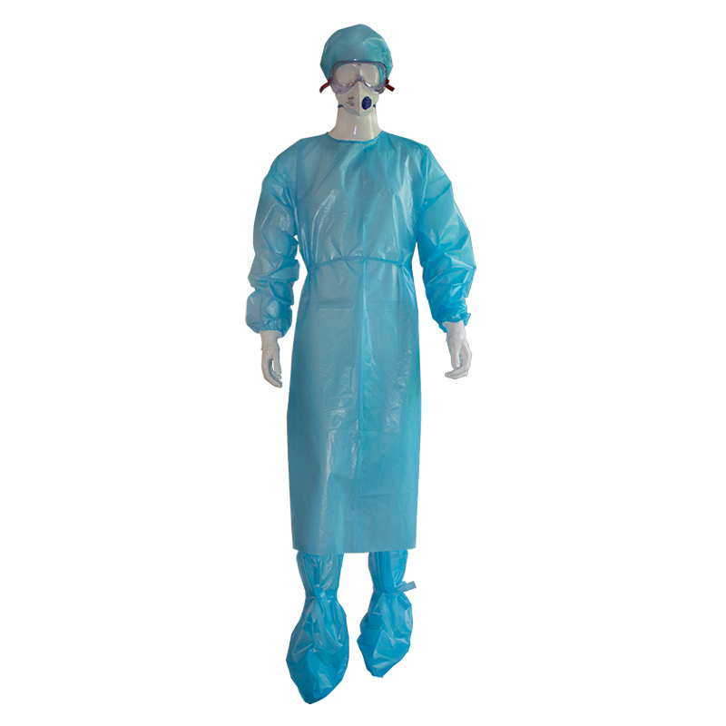 PP with PE Coated Non-Woven Isolation Gown with knitted cuffs