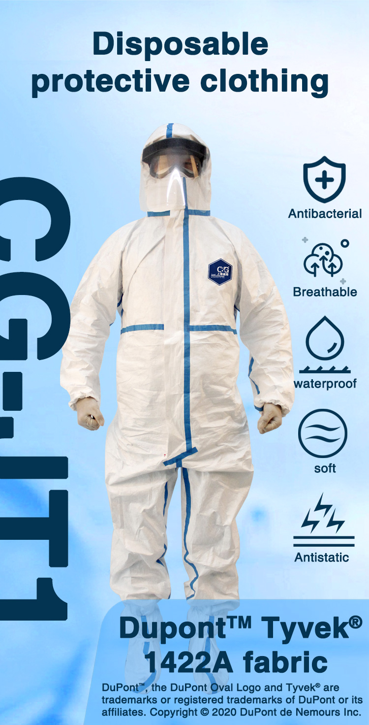 CG-JT1 Disposable Protective Clothing made with Dupont™ Tyvek® 1422A fabric