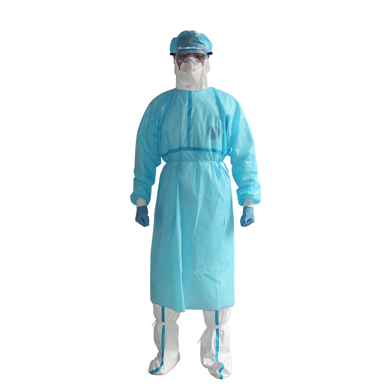 Disposable isolation gown with Light Blue Stripes