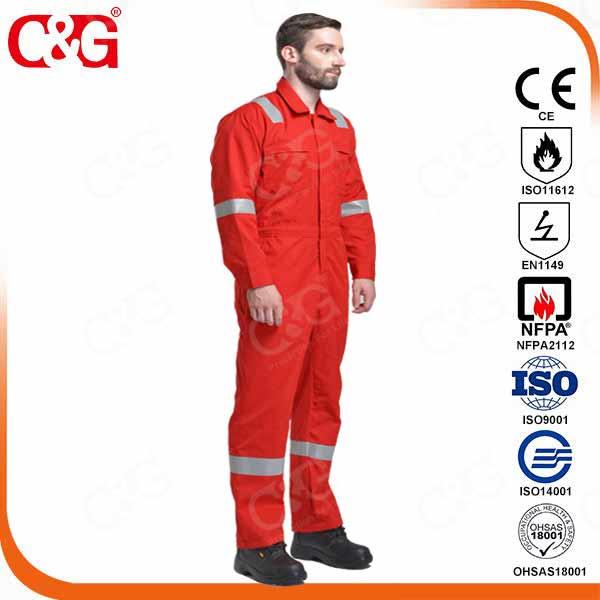 100% fire resistant coverall orange color from factory, china