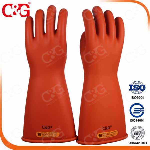 Power Industry Orange Color Class 4 Electrical Insulating Gloves