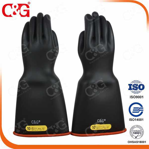 Power Industry Orange Color Class 2 Electrical Insulating Gloves