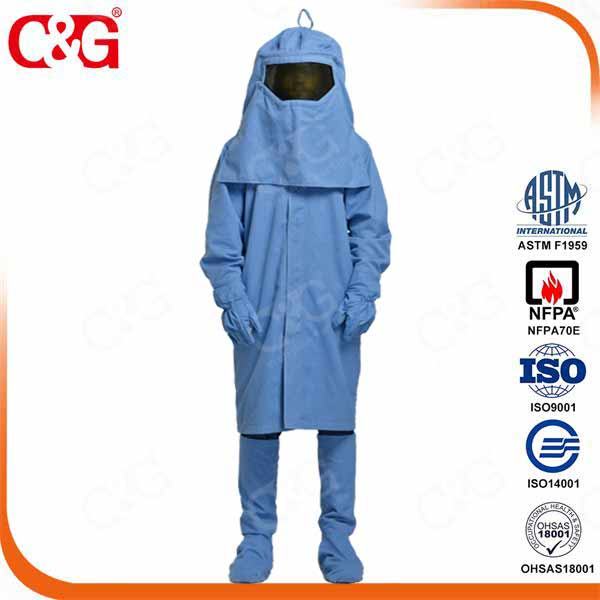 33 cal/cm2 Power Industry Electric Arc Flash Protective Uniform And Arc Face Shield And Safety Weldi