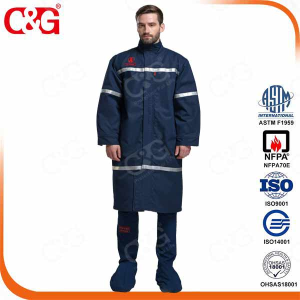 40 cal Arc Flash Long Coats And Face Shield and Bib Overall
