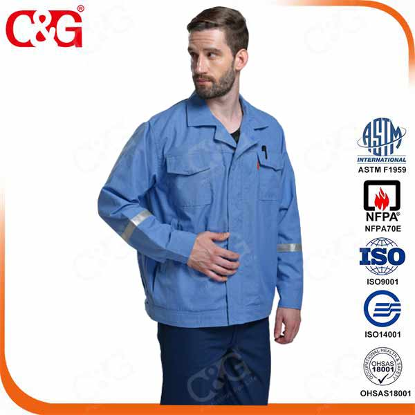 summer medium blue coat 6cal/cm2 level 1 arc flash suits