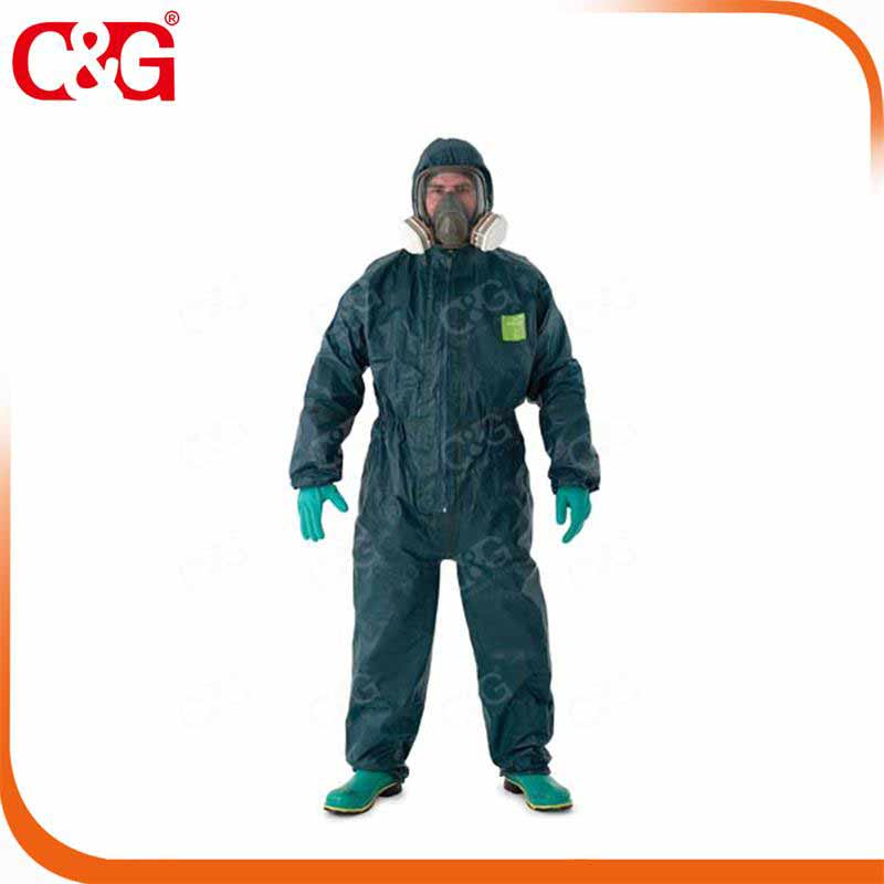 Chemical protective clothing with protective mask