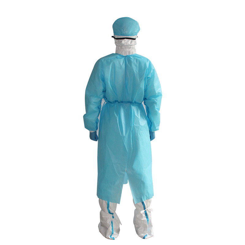 Disposable isolation gown with seam sealing tape