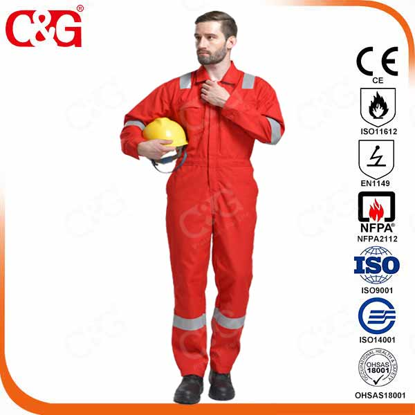 100% fire retardant coverall orange color from factory,china