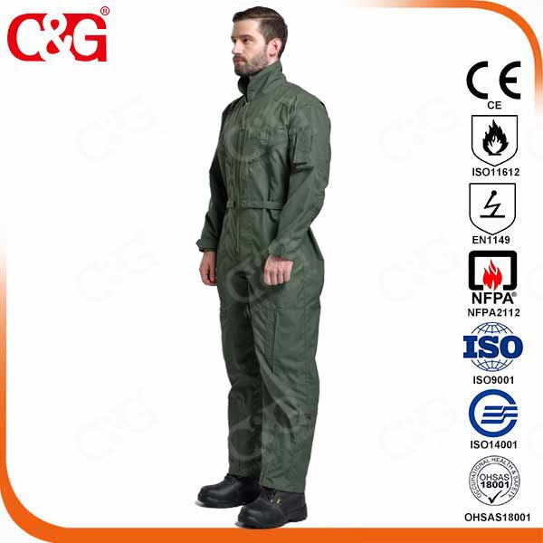 Dupont Nomex IIIA military flight suit with black,  desert,  sage green and royal blue color