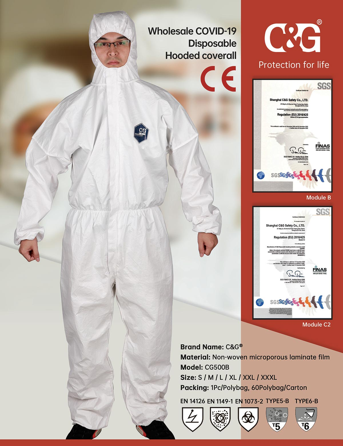 CG500B Disposable Hooded coverall has recently received CE Certification from the CE Notified Body, SGS